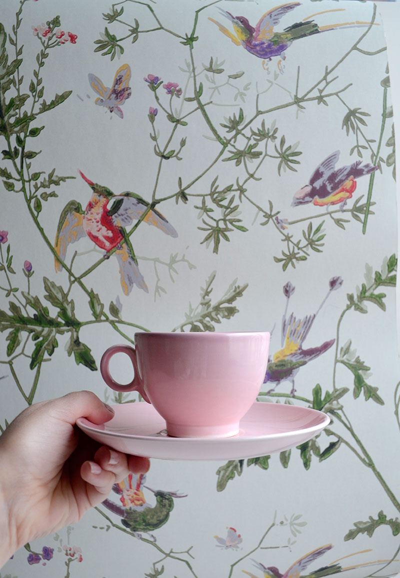 Vintage pink cup and Vanuatu wallpaper / totally by design