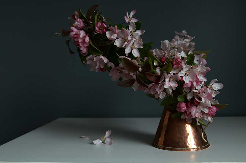 copper pitcher and crab apple | totallybydesign.com