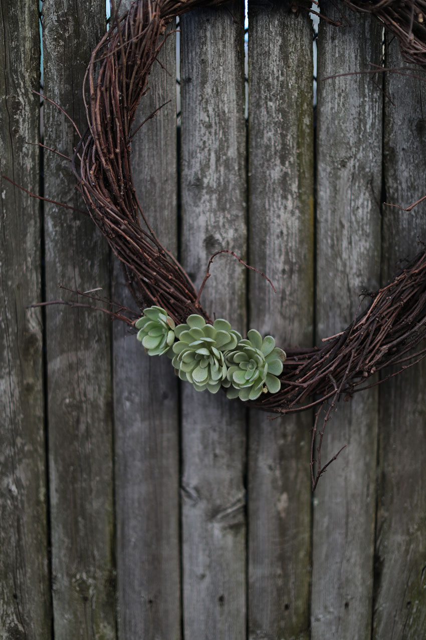 Faux succulent wreath | totallybydesign.com